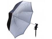 Paraply - Hvit Sølv og Sort 85 cm 7mm stang